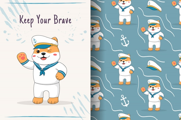 Cartão e padrão sem emenda de marinheiro shiba inu fofo Vetor Premium