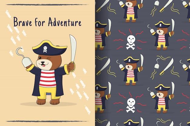 Cartão e padrão sem emenda de pirata urso fofo