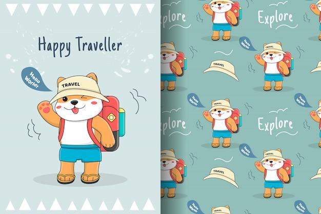Cartão e padrão sem emenda de viajante fofo shiba inu
