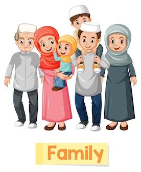 Cartão educacional com palavras em inglês de membros da família muçulmana