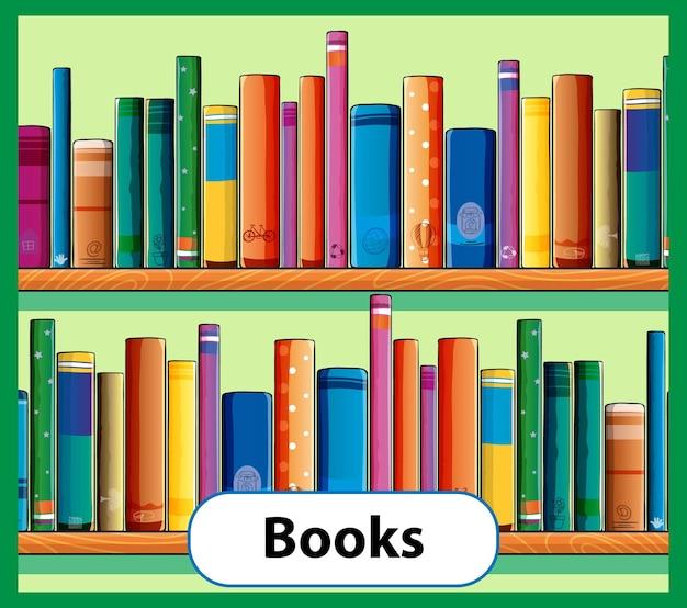 Cartão educacional de livros com palavras em inglês