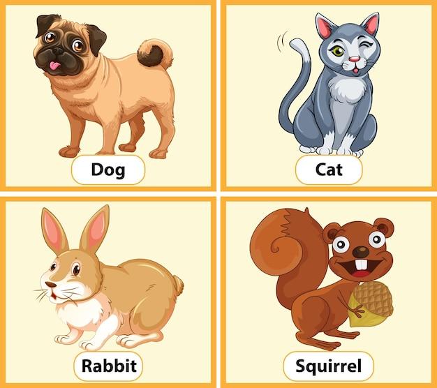 Cartão educacional de palavras em inglês com animais