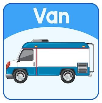 Cartão educacional de palavras em inglês de van