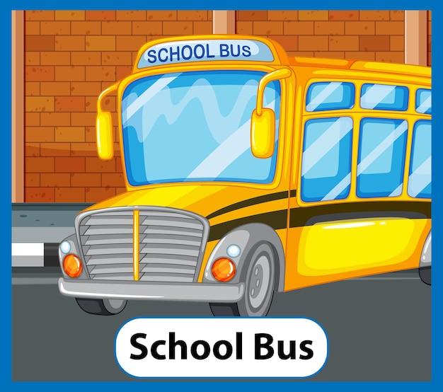 Cartão educacional de palavras em inglês do ônibus escolar