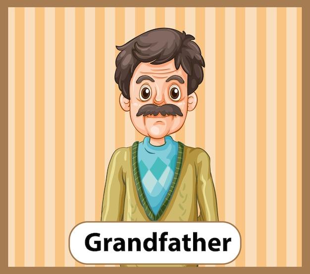 Cartão educacional de palavras em inglês do pai