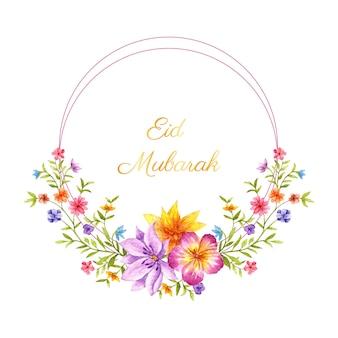 Cartão eid mubarak com moldura floral
