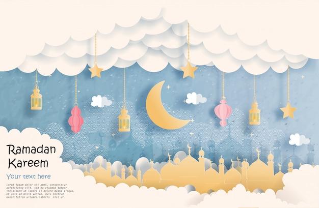 Cartão eid mubarak, ramadan kareem