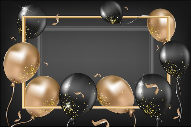 Cartão elegante com balões pretos e dourados, confetes, brilhos em fundo preto. modelo para redes sociais, convites, promoções, vendas. .