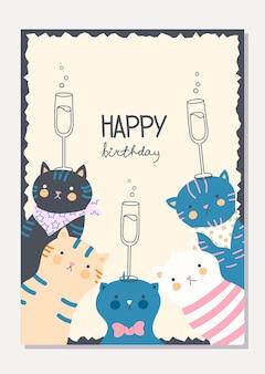 Cartão elegante com gatos engraçados bonitos e taças de champanhe. cartão de feliz aniversário