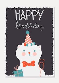 Cartão elegante com um gato fofo em uma tampa festiva com um presente. cartão de feliz aniversário