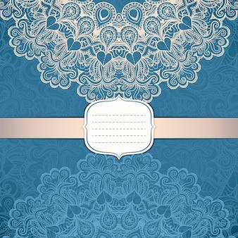Cartão elegante com um ornamento circular em estilo vintage no fundo padrão de renda