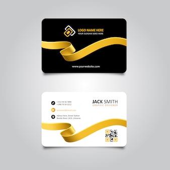 Cartão elegante da fita dourada