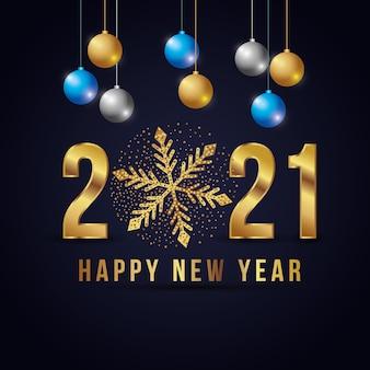 Cartão elegante de feliz ano novo com bolas de natal e número sobre fundo escuro