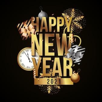 Cartão elegante de feliz ano novo com relógio e presentes entre flocos de neve e bolas de natal sobre fundo escuro