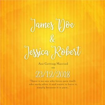 Cartão elegante do convite do casamento no fundo amarelo