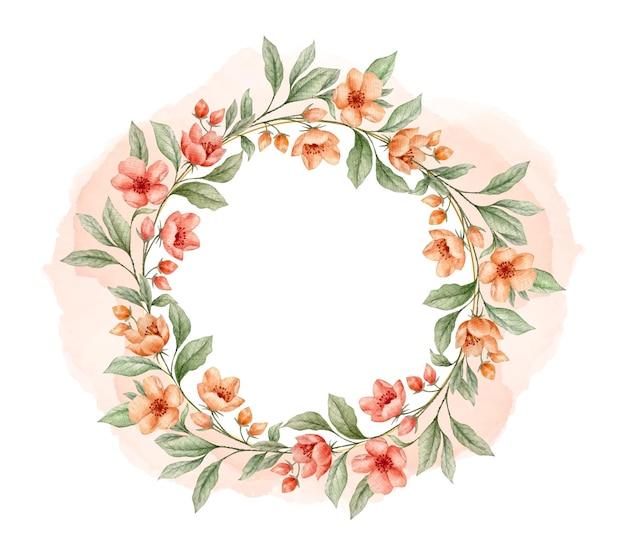 Cartão elegante em aquarela com moldura floral para dia dos namorados