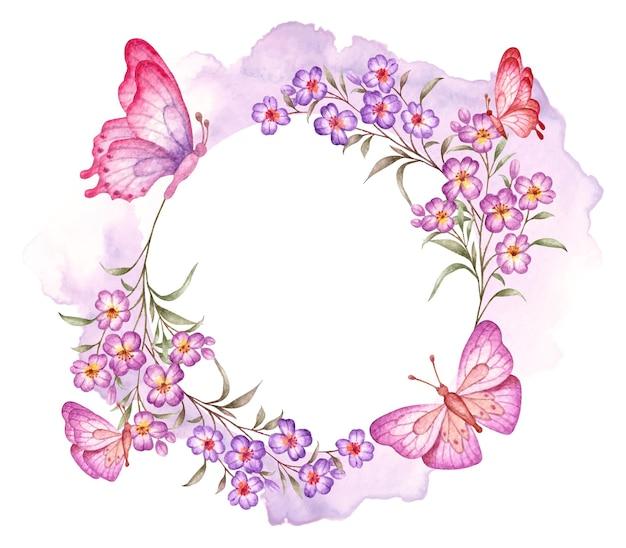Cartão elegante em aquarela de dia dos namorados com moldura floral e borboletas