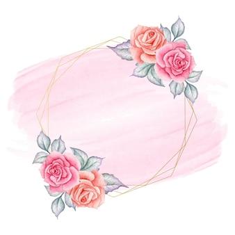Cartão elegante em aquarela de dia dos namorados com moldura floral
