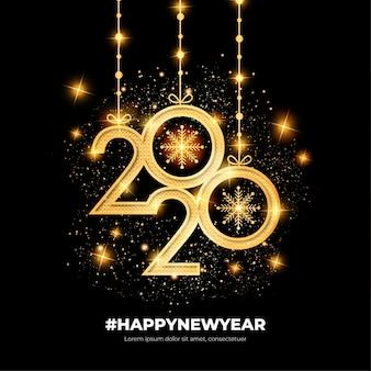 Cartão elegante feliz ano novo com formas de ouro
