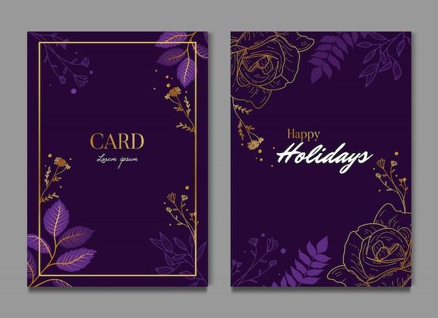 Cartão elegante floral roxo