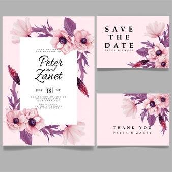 Cartão elegante modelo editável do cartão do convite do evento do casamento