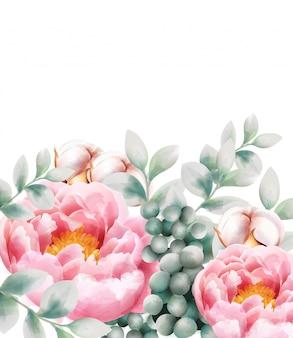 Cartão em aquarela com flores e frutas