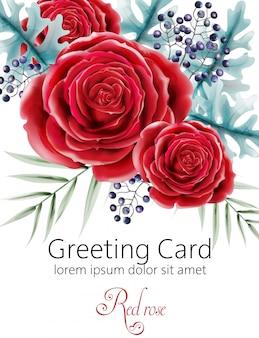 Cartão em aquarela com flores rosas vermelhas, folhas verdes e bagas