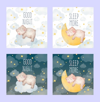 Cartão em aquarela de bebê fofo de um urso dormindo em uma nuvem e na lua