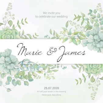 Cartão em aquarela de casamento