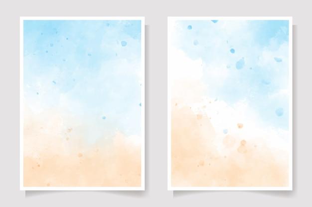 Cartão em aquarela de céu azul marinho e praia de areia