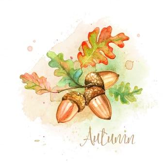 Cartão em aquarela de outono com bolotas e folhas de carvalho