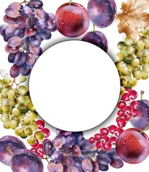Cartão em aquarela de uvas. colheita suculenta de outono outono fundo