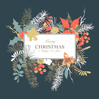 Cartão em aquarela floral inverno com ramos de azevinho, flores e frutos