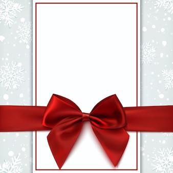 Cartão em branco com laço vermelho e neve. modelo de convite, folheto ou brochura. ilustração.
