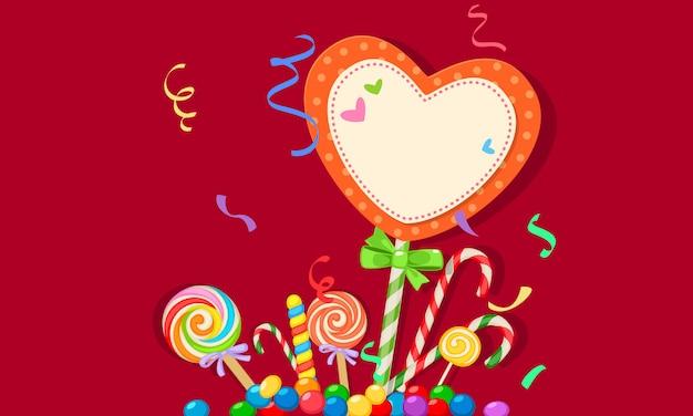 Cartão em branco do tema de doces