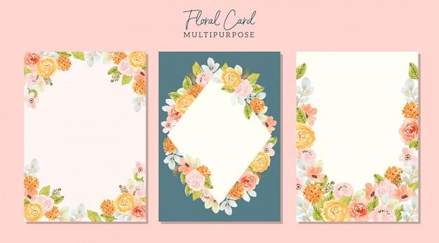 Cartão em branco multiuso com moldura floral aquarela