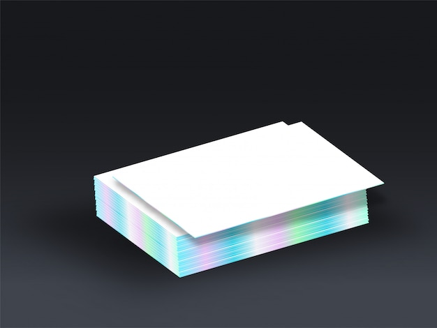 Cartão em branco ou pilha de papel em preto para o conceito de negócio.