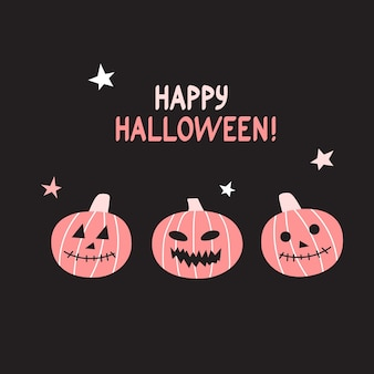 Cartão engraçado de halloween de vetor com abóboras.