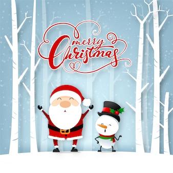Cartão engraçado do natal, com felicidade de papai noel e de boneco de neve com floco de neve, ilustração do vetor.