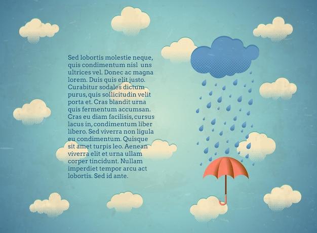 Cartão envelhecido com nuvem chuvosa e guarda-chuva