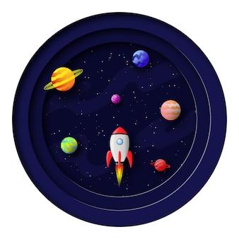 Cartão espacial em estilo de corte de papel foguete voando no espaço entre estrelas e planetas 3d