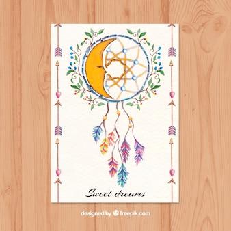 Cartão étnica bonita com dreamcatcher no estilo da aguarela