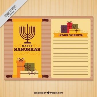 Cartão fantástico com presentes e candelabros para hanukkah