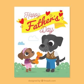 Cartão fantástico do dia de pai com cães bonitos