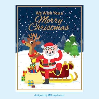 Cartão fantástico para o natal com o papai noel no design plano