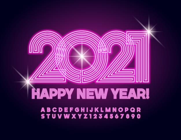 Cartão feliz ano novo 2021! fonte brilhante rosa. conjunto de letras e números do alfabeto de néon