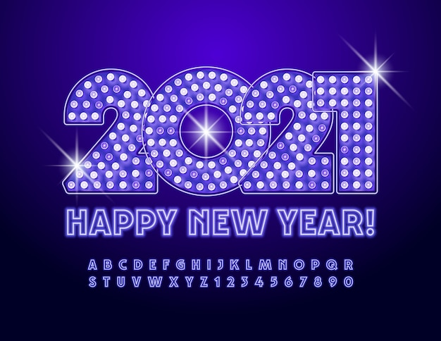 Cartão feliz ano novo 2021! fonte brilhante roxa. letras e números do alfabeto de néon