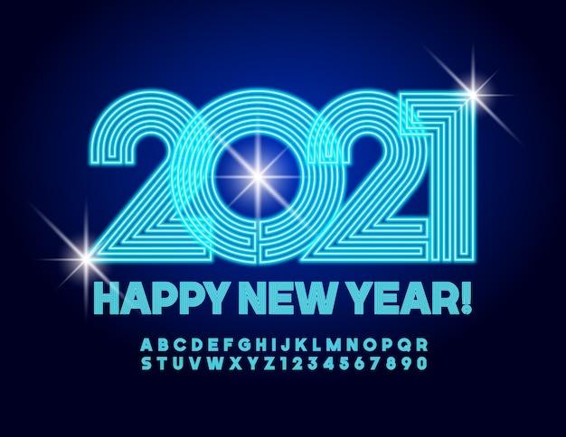Cartão feliz ano novo 2021! fonte elétrica. letras e números do alfabeto criativo de néon
