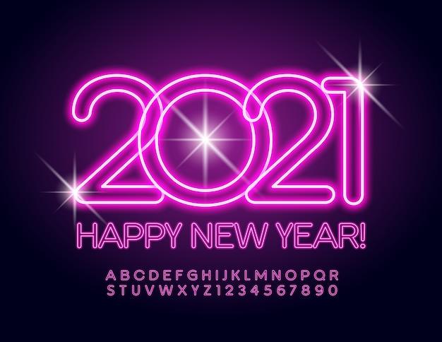 Cartão feliz ano novo 2021! fonte elétrica rosa. letras e números do alfabeto de néon