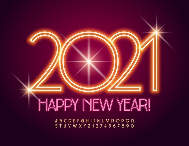Cartão feliz ano novo 2021! fonte laranja elétrica. letras e números do alfabeto de néon